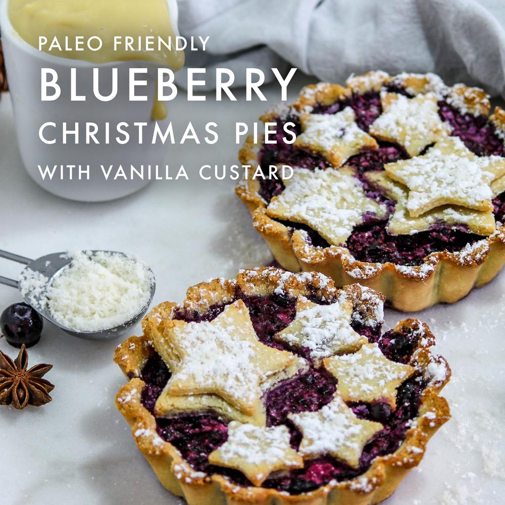 Christmas Pies.Paleo Blueberry Christmas Pies With Vanilla Custard The